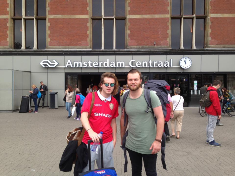 Outside Amsterdam train station