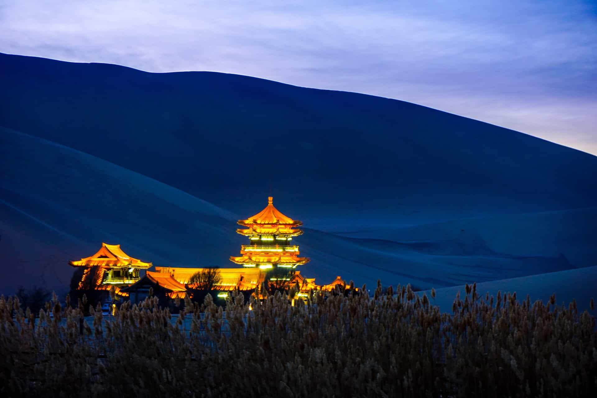 Chinese Dunhuang Crescent Lake night