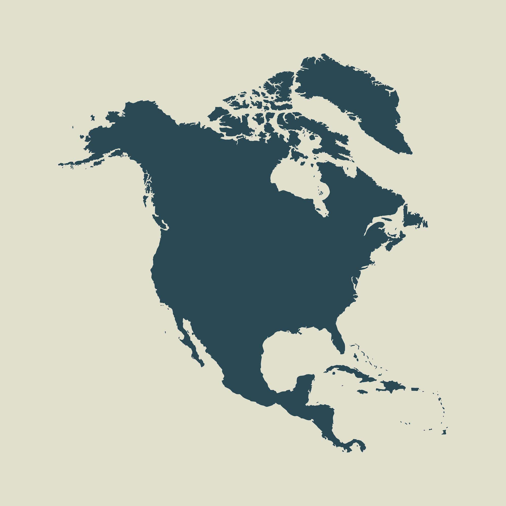 Outline map of North America. Isolated vector illustration