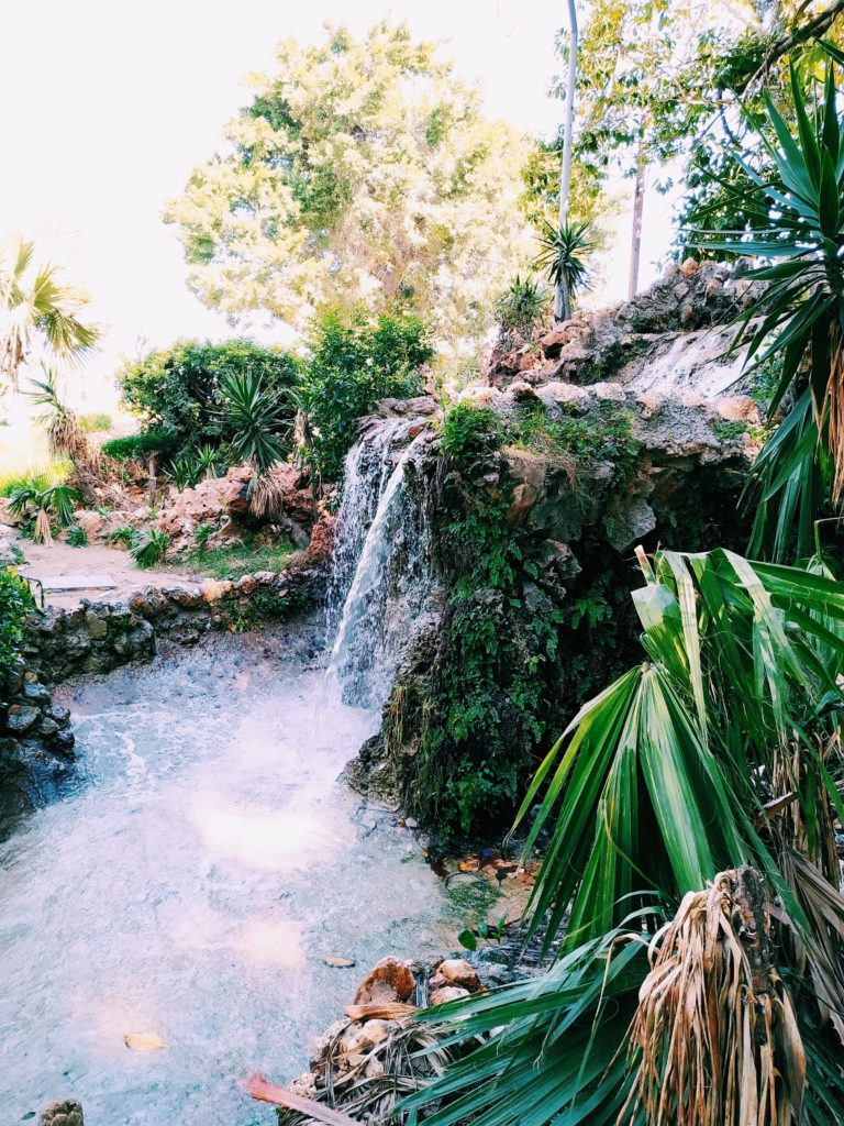 The small waterfall at the east side of Shallat Gardens