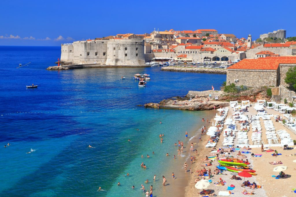 Sunny beach on Eastern side of the old town of Dubrovnik, Croatia